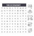 economy editable line icons 100 set vector image vector image