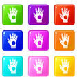 electronic glove icons 9 set vector image
