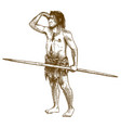 engraving of caveman vector image