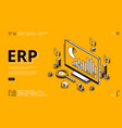 erp enterprise resource planning isometric landing vector image vector image
