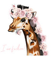 fashion with giraffe and roses vector image vector image