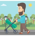 Father pushing pram vector image