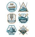 fishing vintage badge with fish rod and hook vector image vector image