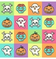 Flat linear pattern with Halloween icons vector image