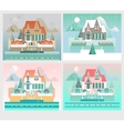 Four Seasons Designs with Island House vector image vector image