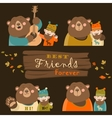 funny bear and man are best friends vector image vector image