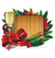 Glass of champagne and Christmas tree branches vector image vector image
