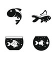 goldfish and fishbowl icons set simple style vector image