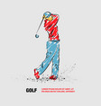 golf player with a stick outline golf player vector image vector image