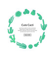 hand drawn desert cacti plants with place vector image vector image