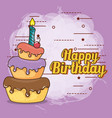 happy birthday card with sweet cake vector image vector image