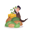 happy millionaire character enjoying his money vector image vector image