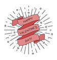 happy valentines day greeting card with ribbon vector image