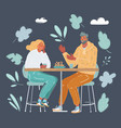 happy young couple in cafe vector image vector image