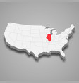 illinois state location within united states 3d vector image vector image