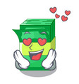 in love stacks money dollar on bank character vector image vector image