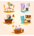 Interior cartoon retro set vector image vector image