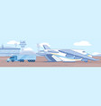 loading heavy truck in cargo plane flat vector image