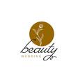 luxury beauty flower plant leaf logo design vector image vector image