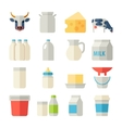 Milk icons flat set with cow butter cheese vector image vector image