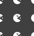 pac man icon sign Seamless pattern on a gray vector image vector image
