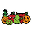pear pineapple apple lime strawberry watermelon vector image vector image