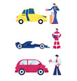 people and their cars set isolated on white vector image