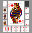 playing cards of diamonds suit and back on green vector image vector image