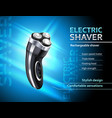 realistic electric shaver advertising poster vector image vector image