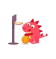 Red Dragon Playing Basketball vector image vector image