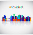 rochester skyline silhouette in colorful vector image vector image