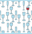 seamless pattern wine glasses with red wine vector image vector image
