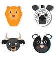 set of animal faces vector image vector image