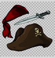 set of pirate items vector image vector image