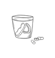 sketch of the denture in glass and pills vector image vector image