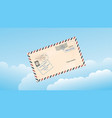 sky with clouds and a mail envelope vector image
