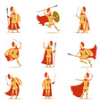 spartan soldier in golden armor and red cape set vector image vector image