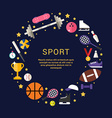 Sport Equipment and Objects in the Shape of Circle vector image vector image