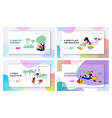 students studying website landing page set boys vector image vector image