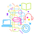 Symbols of higher education on abstract colorful vector image vector image
