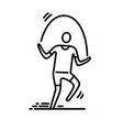 thin line icon man exercising skipping rope vector image vector image