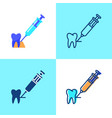 tooth anesthesia icon set in flat and line style vector image