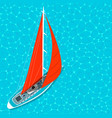 top view sail boat on water poster vector image