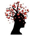 Tree of hearts on head vector image