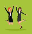 two business women are jumping vector image vector image