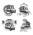 vintage monochrome food trucks labels set vector image vector image