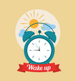 wake up good morning poster with alarm clock and vector image vector image