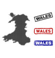 wales map in halftone dot style with grunge title vector image