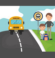 young male teacher with student boy in bus vector image