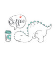 a doodle of cute dinosaur exhausted and wishing vector image vector image